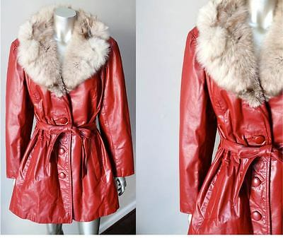 Arctic Fox Fur Leather Vintage 70s Retro Belted Button Red Rouge Cross Coat Sz M
