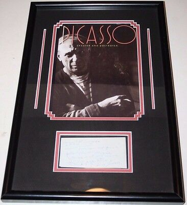 PABLO PICASSO Hand Signed Framed Personal Autographed Note With Photo w/COA