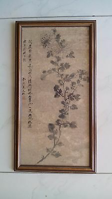 Antique Very Old Chinese Original H/ Painted Ink On Paper Flower Painting Framed