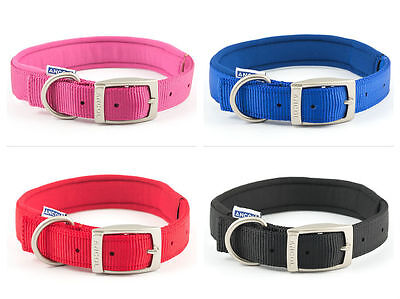 Ancol Padded Heritage Nylon Dog Puppy Collar Lead - Pink Blue Red Black Collars
