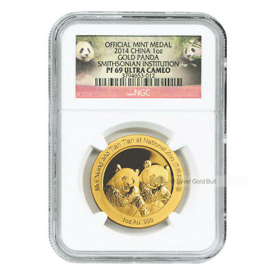1 oz 2014 Chinese Panda Smithsonian Institute NGC PF-69 Ultra Cameo Gold Coin