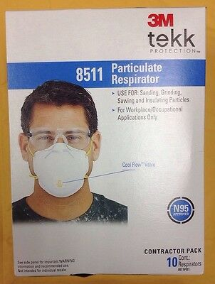3M 8511 N95 Particle Respirator Tekk Protection 10pack