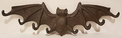 Cast Iron Halloween Bat Wings  8 Hook Hanger New Old Stock No Tag