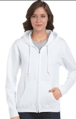 Lot Of Two Gildan Heavy Blend 18600L White Ladies Small & Large Zip Hoodie NEW