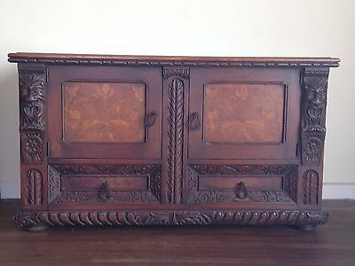 Antique Peck & Hill Sideboard in dark wood with hand carving and lovely inlay