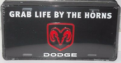 Dodge Grab Life By The Horns License Plate Rams Head Madeusa Truck Mopar Charger