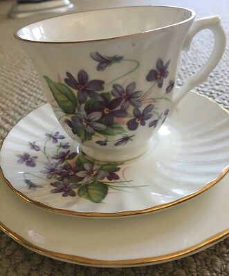 Crown Trent Fine Bone China Cup, Saucer & Cake Plate