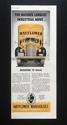1949 Vintage Print Ad MAYFLOWER Ware Houses Moving Truck Yellow Illustration