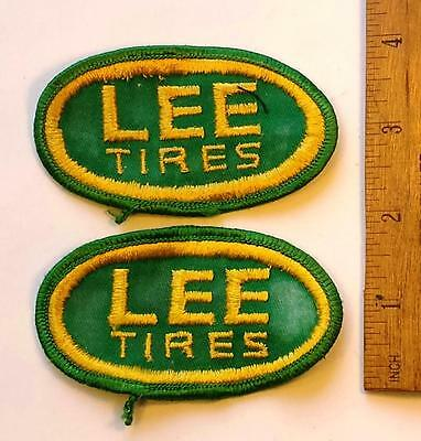 Lot of 2 Vtg Lee Tires of Conshohocken, PA Sew on Cheesecloth Uniform Patches