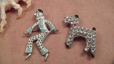 Deco Czechoslovakia Brooches, Mime, Terrier