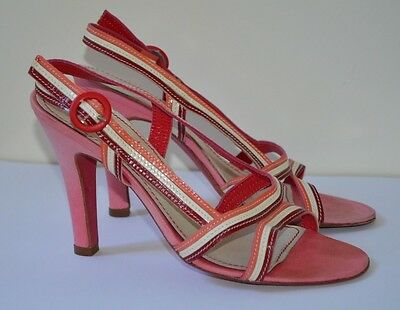 MISS SIXTY Italian Designer Pink LEATHER STRAPPY SANDALS HEELS Made in ITALY 37