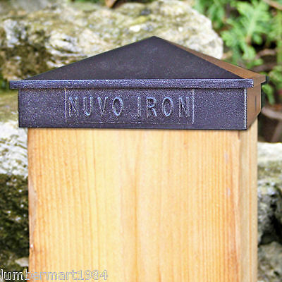 "Nuvo Iron PCP03 6"" X 6"" PYRAMID POST CAP BLACK galvanized aluminium fits 5.5"""