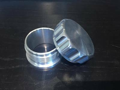 Weld on screw cap 69mm and insert polished billet aluminium 2 inch neck filler