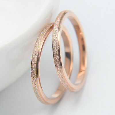 NS 2mm Rose Gold Frosted Titanium Steel Wedding Band Ring Men Women's Size 4-10