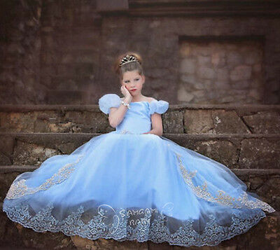 2017 Hot sale Cinderella Princess Gown Girls Kids Dress Cosplay Party Fancy Gift