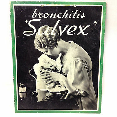 "Vintage Original BRONCHITIS ""SALVEX"" ADVERTISING SIGN Show Card FAULDINGS c1920"