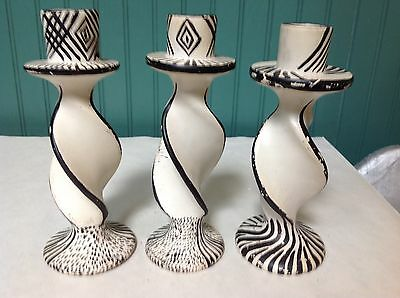 Set Of (3) Authentic African Cameroon Handpainted Soapstone Candle Holders