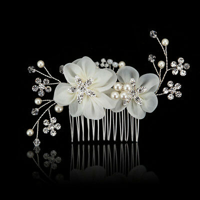 Luxury Bridal Crystal Pearl Hair Comb Wedding Flower Headpiece Hairwear Jewelry