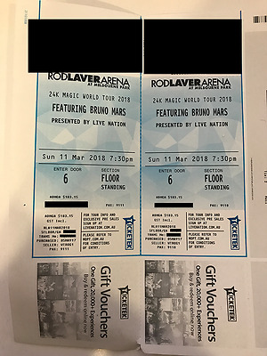 BRUNO MARS CONCERT! 2 x GA FLOOR STANDING TICKETS - Melbourne, Sun 11 March 2018