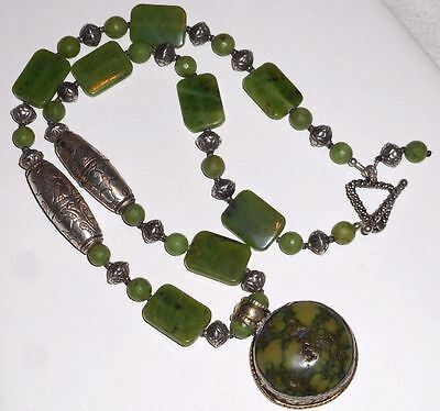 Vintage Chinese Green Gaspeite Sterling Silver Amulet Necklace