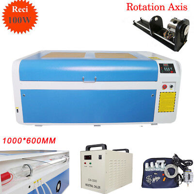 RECI 100W CO2 Laser Cutting Machine Laser Cutter Engraver Chiller 80mm 3-Jaw