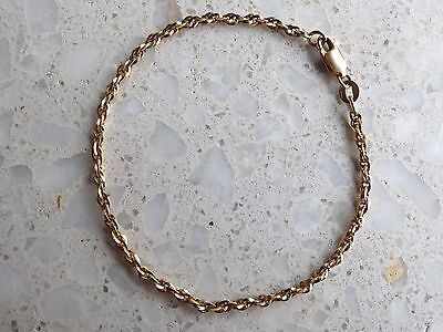 9ct yellow gold rope chain Bracelet 375 9k