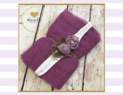 Newborn Photography Wrap and Headband,tie Back & Wrap,Headband ,photo Prop/ Baby