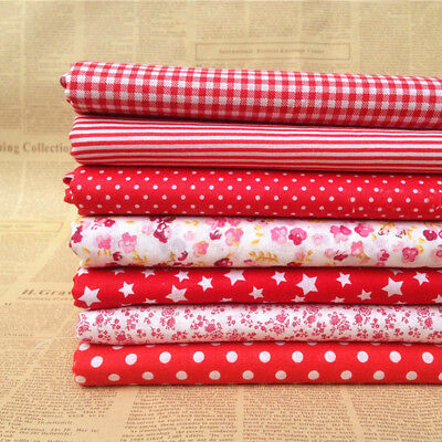 """Craft 7 Assorted Pre Cut Charm 10 """"Squares Quilt Cotton Fabric Patchwork Red"""