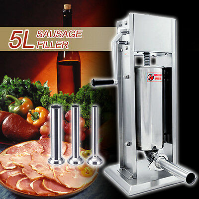 15 Lbs Stainless Steel Commercial Sausage Stuffer Meat Filler 5L Dual Speed
