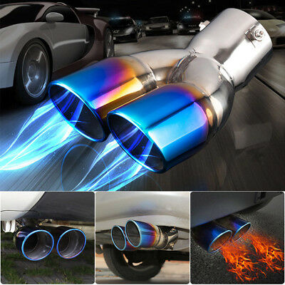 UNIVERSAL DOUBLE Stainless Steel EXHAUST PIPE TRIM TIP REAR TAIL MUFFLER 63MM