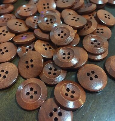 10 X 20mm Coffee Brown Wooden Buttons - Australian Supplier