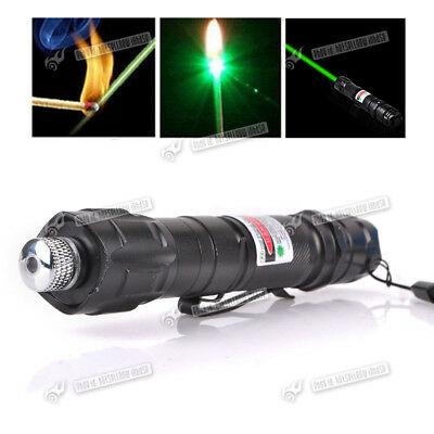 High Power 1mw Green Pointer Laser Pen Adjustable Focus 532nm Burning Lazer UK