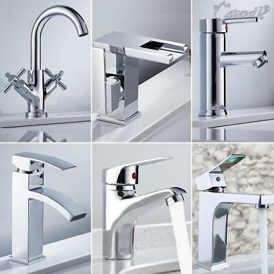 Modern Waterfall Bathroom Basin Sink Mixer Taps Chrome Brass Mono Cloakroom Tap