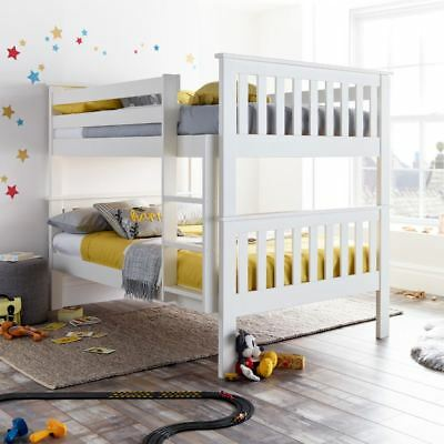 Oslo White Wood Quadruple Sleeper Bunk Bed 4ft Small Double 4
