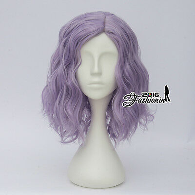 Light Purple 35CM Lolita Style Curly Party Hair Heat Resistant Cosplay Full Wig