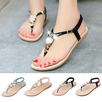 Women Summer Flip Flops Flat Sandals Bohemia Slippers Clip Toe Beach Thong Shoes