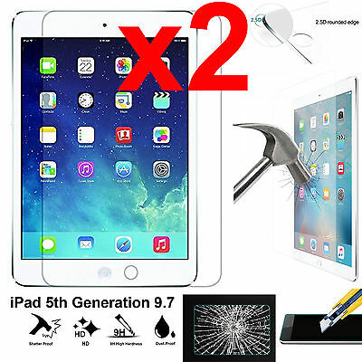 x2 Full 9H Tempered Glass Apple iPad 5 screen protector 9.7 5th Generation 2017