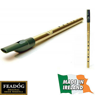 FEADOG Original Brass D TIN PENNY WHISTLE Irish Ireland Green Top New Music