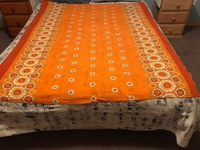 Vintage Orange Flowers Retro Seersucker Tablecloth