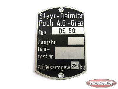 Typenschild für Puch DS50 Frame tag Moped as original NEW Mofa Teile oldtimer