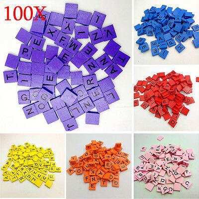 100PCS Wooden Scrabble Tiles Black Letters Numbers For Crafts Wood Alphabts lot