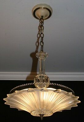 Antique frosted glass Art Deco sunflower shade light fixture ceiling chandelier