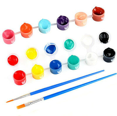 Kids Acrylic Paint Palette Drawing Pen Brush Set Children Art Crafts Painting