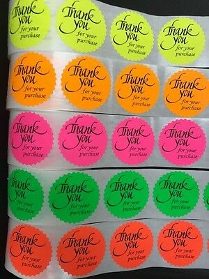 250 Thank You For Your Purchase Neon Labels Stickers Starburst Fluorescent 2""