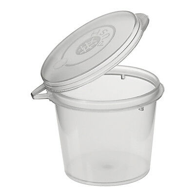 100 Disposable Plastic Takeaway Sauce Containers 1 Oz 30ml with hinged lids