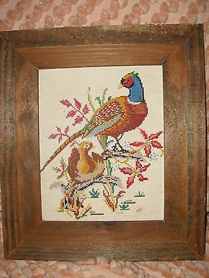 """PHEASANT & BABY CHICK IN NEST FRAMED 12.5  x 14.5"""" wall hanging HEAVY OAK FRAME"""
