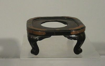 Antique Chinese or Japanese Lacquered Stand Table Tray Base Bronze