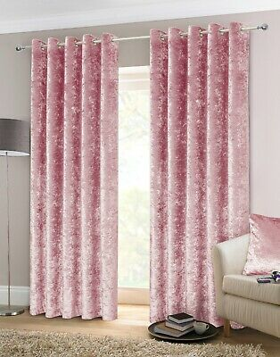 Belle Maison Crushed Velvet Pair Fully Lined Eyelet Ring Top Curtains FREE P&P