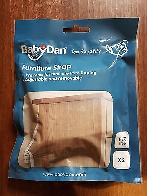 Baby Dan Child Safety Furntiure Straps. Pack of 2. White. New & Free Delivery