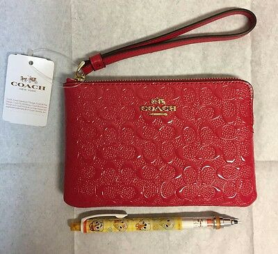 100% Authentic Corner Zip Wristlet In Signature Debossed Patent Leather Coral